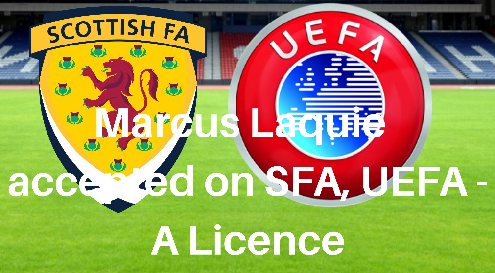 We are delighted to confirm Our TD Marcus Laquie accepted on UEFA – A Licence